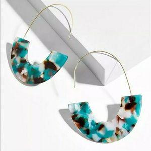 Acrylic Geometric Semicircle Threader Earrings